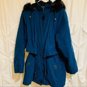 Worthington Blue Winter Jacket Coat w Fur Hood